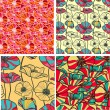 Set of 4 seamless floral backgrounds — Stock Vector
