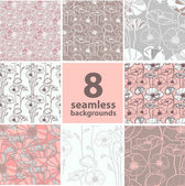 Set of 8 seamless floral backgrounds — Stock Vector