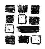 手绘黑色正方形和矩形 — 图库矢量图片