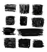 Hand drawn black squares and rectangles — Stock Vector