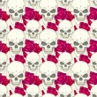 Stockvector : Seamless pattern with skulls
