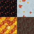 Set of four autumn leaves  backgrounds — Stock Vector
