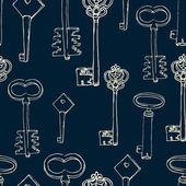 Padrão sem emenda com chaves retrô — Vetor de Stock