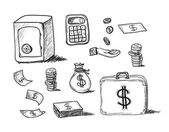 Hand drawn business icons — Vector de stock
