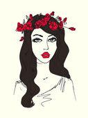 Boceto de una mujer con flores en el pelo — Vector de stock