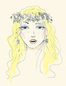 Bir kadının saçında çiçekler ile kroki — Stok Vektör