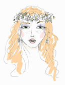 Sketch of a woman with flowers in her hair — Stock Vector