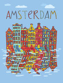 Amsterdam, vector card — ストックベクタ