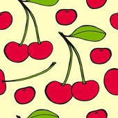 Cherries - seamless vector pattern — Stock Vector