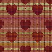 Fond tricoté avec des coeurs — Vecteur