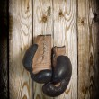 Brown old boxing gloves wooden wall — Foto Stock