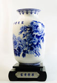 Close-up of blue and white china — Stock Photo