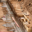 Construction site foundation - Zdjcie stockowe