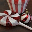 Red and White Candy Christmas Ornaments — Stock Photo #36890003