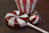 Red and White Candy Christmas Ornaments — Stock Photo
