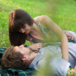 Young couple on a romantic picnic outdoors - ストック写真