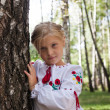 Child in Ukrainian style shirt by a birch in a forest — Stock Photo