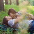 Royalty-Free Stock Photo: Young couple on a romantic picnic outdoors