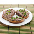 Royalty-Free Stock Photo: Sandwich with liver cheese spread and chopped green onions