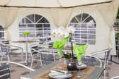 Inside a catering tent for reception — Stock Photo