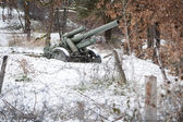Defence line artillery in winter — Stock Photo