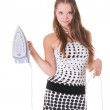 Young pretty female model posing with iron — Stock Photo #3790623