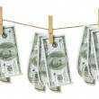 Clothes Line with Dollar Notes — Stock Photo #12481196