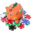Piggybank and Poker Chips — Stock Photo