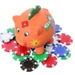 Piggybank and Poker Chips — Stock Photo