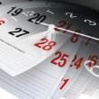 Stock Photo: Calendar Pages and Clock