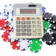 Calculator and Poker Chips — Stock Photo