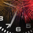 Clock and Fireworks — Stock Photo