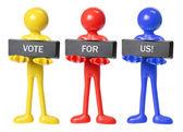 Figuras de goma con concepto de voto — Foto de Stock