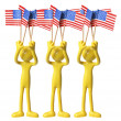 Figures with American Flags — Stock Photo