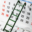 Ladder on Calendar - Stock Photo