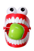Chattering Teeth Toy with Apple — Stock Photo