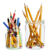 Pencils in Glass Jars — Stock Photo