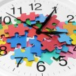 Clock and Puzzle Pieces — Foto Stock