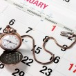 Pocket Watch on Calendar — Stock Photo