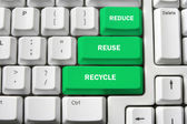 Computer Keyboard with Recycle Concept — Stock Photo