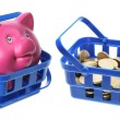 Piggy Bank and Coins in Baskets — Stock Photo