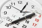 Pen on Calendar and Clock — Stock Photo
