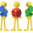 Miniature Figures with Dice and Puzzles — Stock Photo