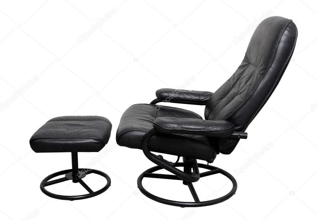 leather recliner chair with footstool u2014 stock photo - Black Leather Recliner Chair