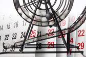 Calendar and Bingo Game Cage — Stock Photo