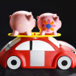 Piggybanks on Toy Car — Stock Photo
