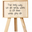 Foto Stock: Easel with Message of Motivation