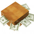 Wooden Box with Money  — ストック写真