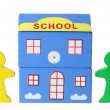 Miniature School and Figurines — Stock Photo