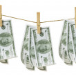 Clothes Line with Dollar Notes — Stock Photo